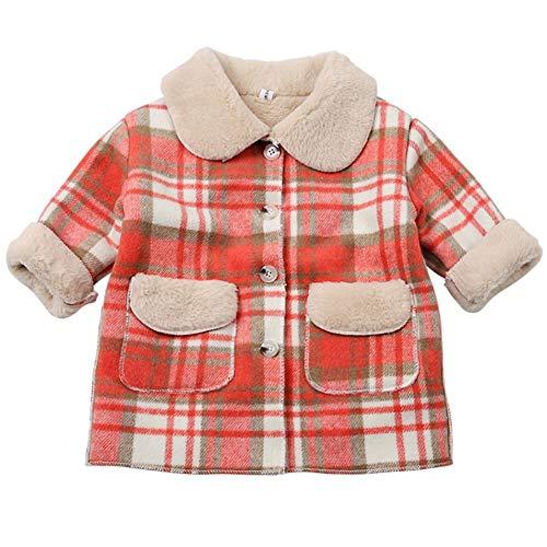 WMOFC Baby-Mantel-Herbst-Winter-Kind-Baby-Mädchen-Winter-Mantel-Jacke Warm Oberseitenoberbekleidungt Klage Für 3-8 Jahre Baby,Rot,100