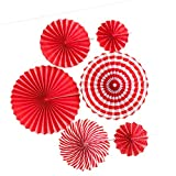 Abanicos de papel para colgar para fiestas de cumpleaños, bodas, escuelas, eventos, 8 unidades, color rojo
