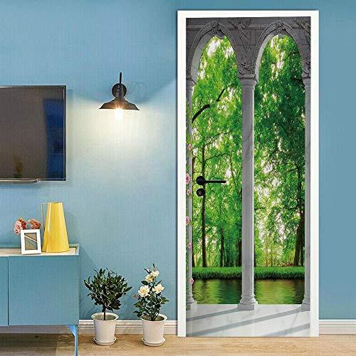Türtapete Tür Wandbild Selbstklebende 3D Tür Wandbilder Für Wohnzimmer Schlafzimmer Dekoration Balkonwald Tür Tapete -77 x 200 cm