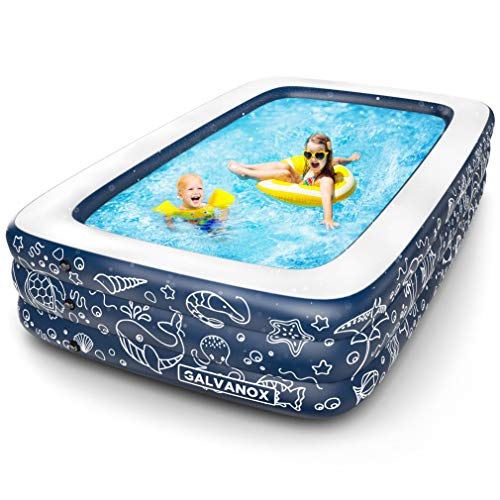 "Galvanox Inflatable Pool, XL Above Ground Swimming Pool for Kiddie/Kids/Adults/Family, Dark Blue (Large 10'x6' Ft / 22"" Inches Deep)"