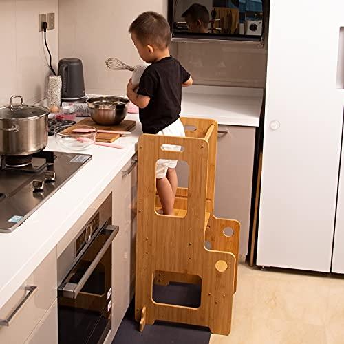 Soporte de cocina para niños pequeños, torre de aprendizaje con riel de seguridad, para niños pequeños de 18 meses y mayores