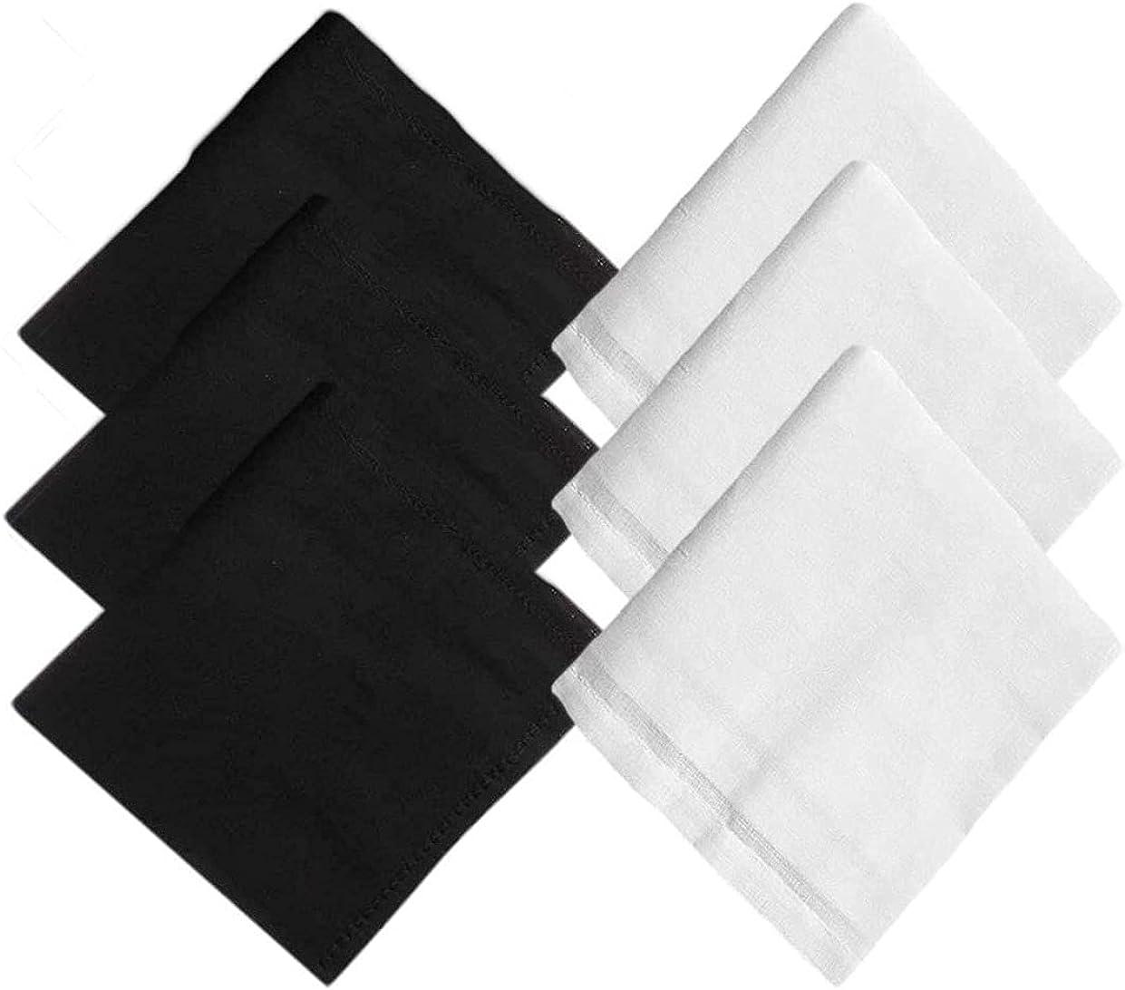 Kalagiri Cotton Premium Collection Black And White Handkerchiefs Hanky Set For Men - Pack of 6 Pcs