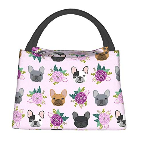 French Bulldog Lunch Bag Flowers Insulation Bag Portable Leak-Proof Waterproof Large-Capacity Lunch Handbag Insulated Heat Insulation