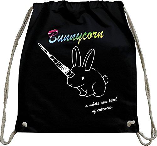 Mister Merchandise Turnbeutel natur Rucksack Bunnycorn Einhorn Hase Kaninchen Beutel Tasche Schwarz