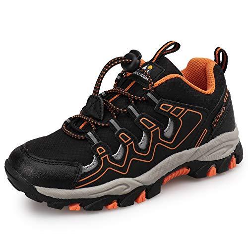 UOVO Wanderschuhe Jungen Turnschuhe Kinderschuhe Sneakers Trekking Schuhe Outdoor Sportschuhe Laufschuhe Schwarz 34