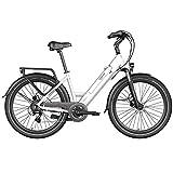 Legend Milano Vélo Électrique Ville Smart eBike Roues de 26 Pouces, Freins Disque Hydraulique, Batterie 36V 10.4Ah Sanyo-Panasonic (374.4Wh), Blanc Artic