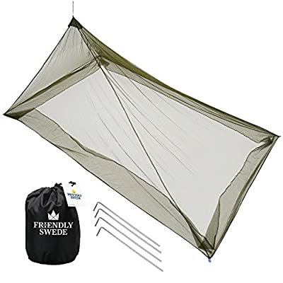 The Friendly Swede Camping Mosquito Bed Net, Bug Net for Single Cot (Army Green)