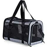 Petsfit Most Airline Approved Cat Carrier Dog Carriers Soft-Sided Pet Washable Travel Carrier for Puppies /Kittens/Rabbit,5-Sided Breathable mesh/Self-Lock Zippers
