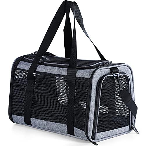 Petsfit Transporttasche Katze und Hunde,Atmungsaktive Faltbare Katzentransportbox Hundetasche & Hundebox Flugtasche für Haustiere im Auto Flugzeug oder in der Bahn