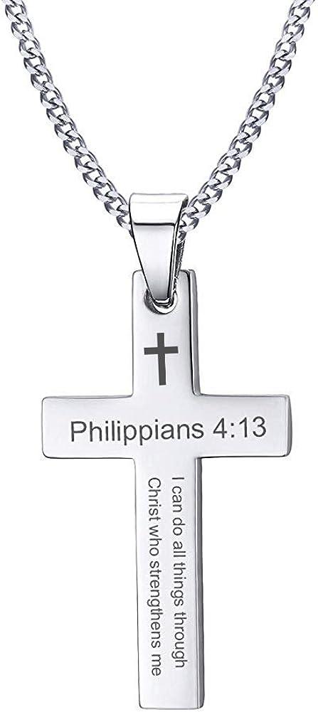 VNOX 316L Stainless Steel Christian Bible Verse Cross Pendant Necklace Men Women,Free Chain 24