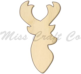 Deer Head Wood Shape Cutout, Wood Craft Shape, Unfinished Wood, DIY Project. All Sizes Available, Small to Big. Made in the USA. 6 X 3.3 INCHES