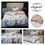 MKXI Duvet Cover Set Floral Embroidery Sateen Cotton Vintage King Size Bedding Set