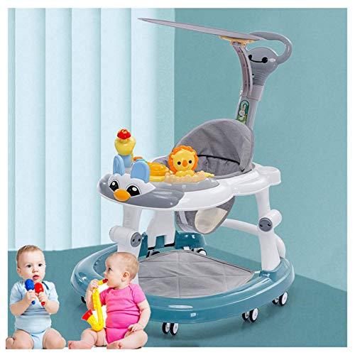 Olz Altura Ajustable Bebé Walkers con empujador y sombrilla, Multifunción Bebé Plegable para bebés Anti-Rollover, Anti-O-Legs Toddler Walker por 6-18 Meses Boys & Girls,Verde