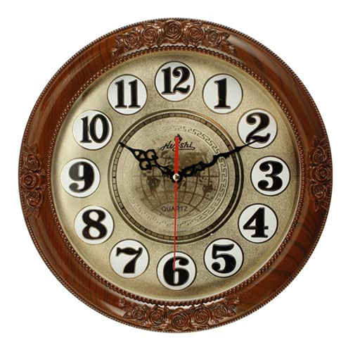 WOFEI Reloj Clásico De 14'' Reloj De Pared De Arte De Escultura Tridimensional. Cocina Casera Redonda Elegante Silenciosa/Oficina del Dormitorio Brown