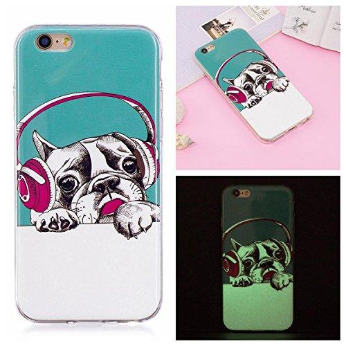 OnlyCase Cover per iPhone 6 Plus/iPhone 6S Plus, Premium Elegante Effetto Luminoso TPU Morbida Silicone Gel Elegante Custodia con,Nottilucente Verde Glow in The Dark Custodia Antiurto, Music Dog