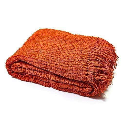 StylemyBedroom masywny szenila dzianinowy koc na sofę/łóżko (230 cm x 254 cm (90 cali x 100 cali), brązowy pomarańczowy)
