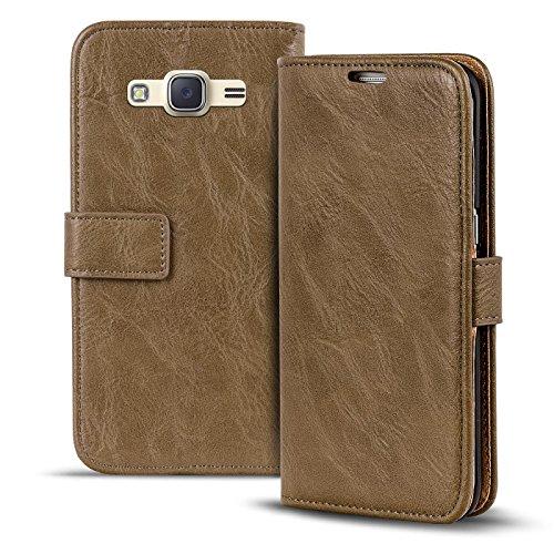 Conie RW30431 Retro Wallet Kompatibel mit Samsung Galaxy J1 2016, Klapphülle Tasche Vintage Leder Design für Galaxy J1 2016 Etui mit Kartenfächer Mocca