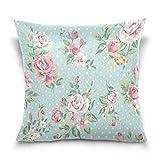 Lewiuzr Funda de cojín Lunares de Flores Vintage Square Cushion...