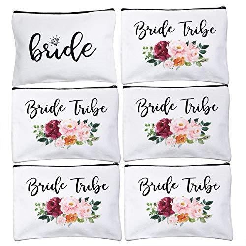 ECOHIP 6 Pack Bride Tribe Makeup Bag Bridesmaid Proposal Gifts Bridal...