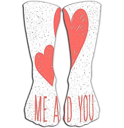 NGMADOIAN Knie hohe lustige Socken für Frauen Männer 50 cm abstrakte kindliche rosa Herzmuster Design Hochzeitskarte Braut Invita
