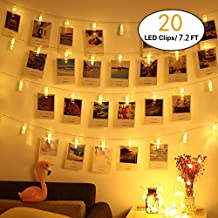 HEHUI 20 LED Photo Clips String Lights, Christmas Indoor Fairy String Lights for Hanging Photos Pictures Cards and Memos,Battery Powered, Ideal Gift for Dorms Bedroom Decoration(7.2Ft, Warm White)