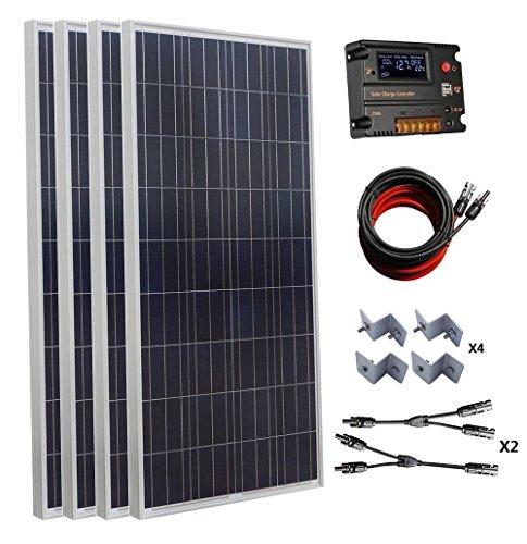 ECO-WORTHY 600W 24V polykristallinen Solar Panel Kit: 4pcs 160W Poly Solarmodule + Auto Switch LCD Intelligent Regler Laderegler + MC4 Solarkabel + Y MC4 Anschlüsse + Solar Panel Montage Klammern