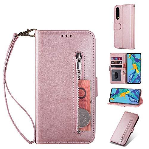 ZTOFERA Huawei P20 Hülle, Magnetisch Folio Flip Wallet Leder Standfunktion Reißverschluss schutzhülle mit Trageschlaufe, Brieftasche Hülle für Huawei P20 - Roségold