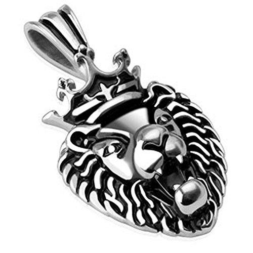 Bungsa® Löwen König Halskettenanhänger Edelstahl Silber (Kettenanhänger Pendant Anhänger Charm Beads Chirurgenstahl Damen Herren Schmuck)