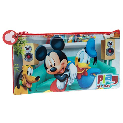 Disney Mickey Play Beauty Case da Viaggio, Poliestere, Rosso, 21 cm