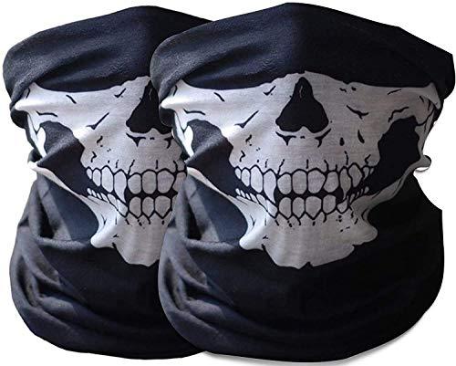 Gesichtsmaske Multifunktionstuch Herren kopftuch Damen - Schädel Skull Gesichtsmaske, Balaclava Face Mask,Face Shield, Staubschutz Fahrrad für Outdoor Motorradmaske (Weiß-2Pack)