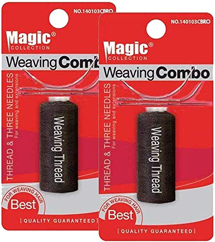 Magic Collection Weaving Combo Thread & Needles Set (2-PACK, BROWN)