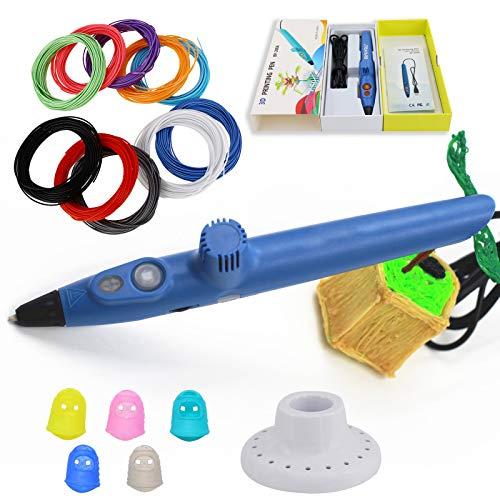 Pluma De Impresión 3D Mejorada, Control De Velocidad Y Temperatura, Sueño Automático, Pluma De Grafiti De Dibujo 3D, 5 Tipos De Recargas De Mecha PLA En 10 Colores (10 Colores), Manualidades (blue)
