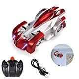LLFA Remote Control car That can Climb The Wall, Remote Control Wall-Mounted car, 360-degree Rotating Stunt Toy with LED Light, Birthday Toy car for Boys and Girls (red)