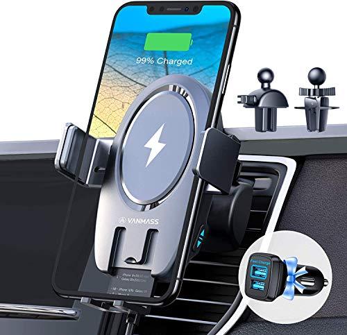 VANMASS 15W Fast Wireless Charger Auto Handyhalterung mit Ladefunktion 2IN1 Handyhalter Fürs Auto Induktion Upgrade mit 2 Lüftungsclip Motor Betrieb Auto Ladegerät für Wireless Charging fähige Handy