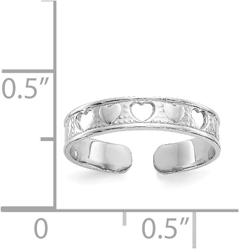 14K White Gold Polished w/Hearts Toe Ring