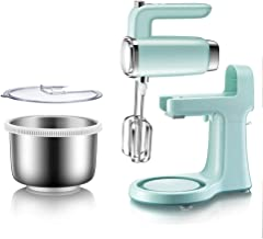 Electric Egg Beater eggbeater Stainless Steel Barrel Rotation Baking Dough Mixer with Base Desktop Handheld Dual-use