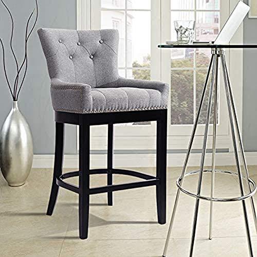 MissZZ Juego de 1 taburetes de Bar, sillas de Desayuno de Lino con Asiento tapizado, Patas de Madera, sillas de Bar para Pub, Cocina, Comedor, Gris Claro