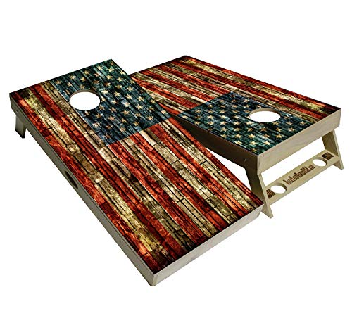 American Flag Series - Premium Cornhole Boards w Cupholders and a handle - Includes 2 Regulation Size 4' x 2' Cornhole Boards w Premium Birch Plywood and a Set of 8 Cornhole Bags (Brick Flag)