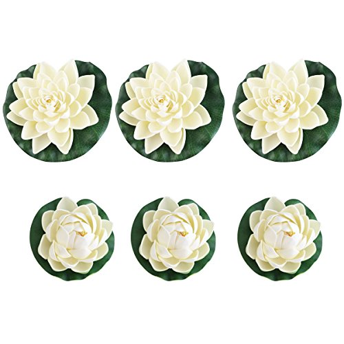 Tinksky Stagno piante loto artificiale ninfee confezione da 6 pz