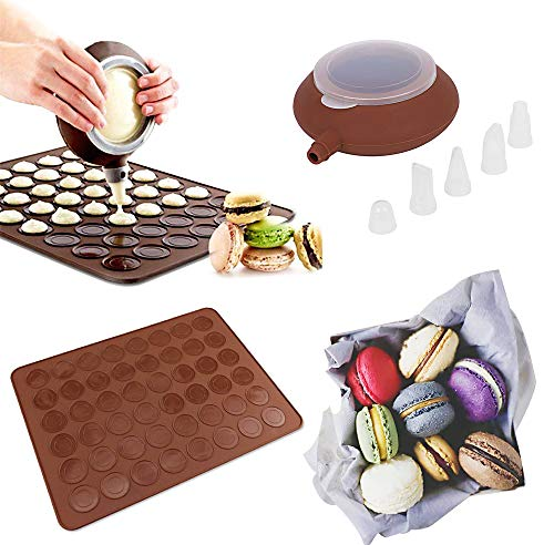 SOEKAVIA - Moule à gâteau en silicone avec décoration - Capacité de 48 macarons - Stylo de décoration - Outil presse beurre