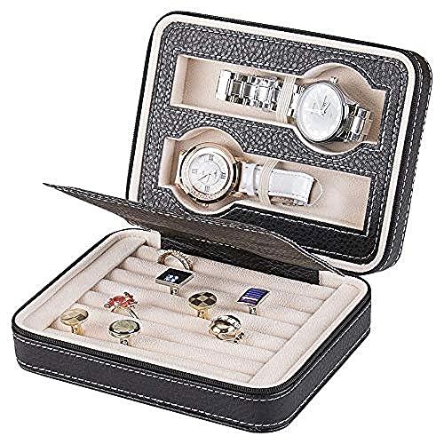 SHUMEISHOUT Caja de joyería- Caja de joyería para joyería de Capa de Mujer - Cuero de PU en Relieve Brillante (Color : Black)