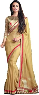 Golden Yellow And Red Embroidery, Net and Shaded Designer Saree Collection