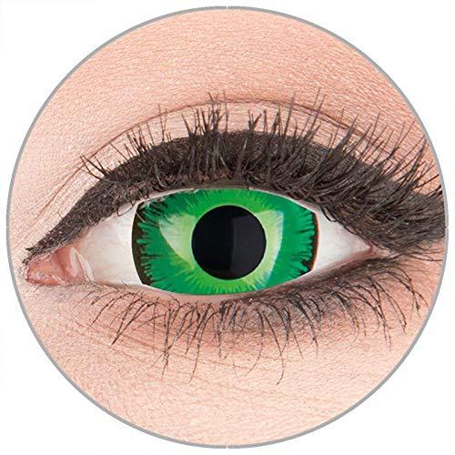 Farbige Kontaktlinsen zu Fasching Karneval Halloween in Topqualität von 'Glamlens' ohne Stärke 1 Paar Crazy Fun Mini Scleara grüne 'Shining' 17 mm