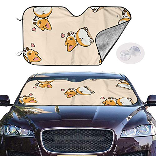 ghkfgkfgk Car Sun Shade SUV Trucks Automotive Minivan UV Sun Heat Reflector Visor Protector Front Window Sunshade-Corgi Doggy Animal Style