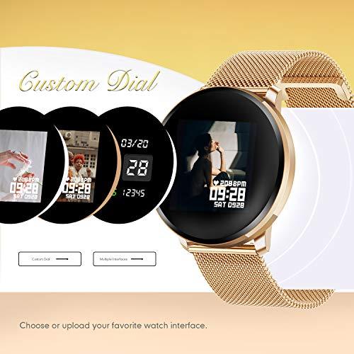 GOKOO Reloj Inteligente Mujer Smartwatch Bluetooth Rastreador de Fitness Pulsómetros Monitor de Sueño IP67 Impermeable Reloj Deportivo Compatible con Android iOS miniatura