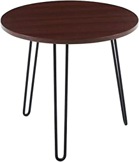 Small Round Side Table Modern End Accent Cocktail Coffee Table Round Tabletop Metal Hairpin Legs for Living Room(Mahogany)