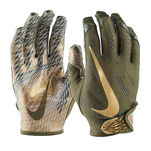 Nike Adult VaporKnit 2.0 Receiver Gloves 2018 (Olive/Gold, X-Large)