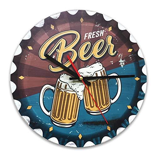 Orologio da parete vintage in MDF, diametro 30 cm, con riproduzione tappo birra e stampa boccali di birra per decorare la casa in maniera originale, ideale per tutti gli ambienti della casa.