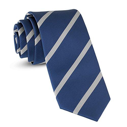 Handmade Striped Ties For Men Skinny Woven Slim Rep Navy Blue & White Mens Stripes Tie: Thin...