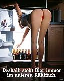 Poster Bier im unteren Kühlfach - Größe 40 x 50 cm -